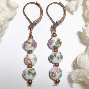 Earrings Beaded Glass Floral Dangle Drop NWT 4714